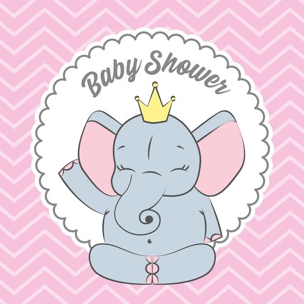 かわいい象のベビーシャワーカード Premiumベクター