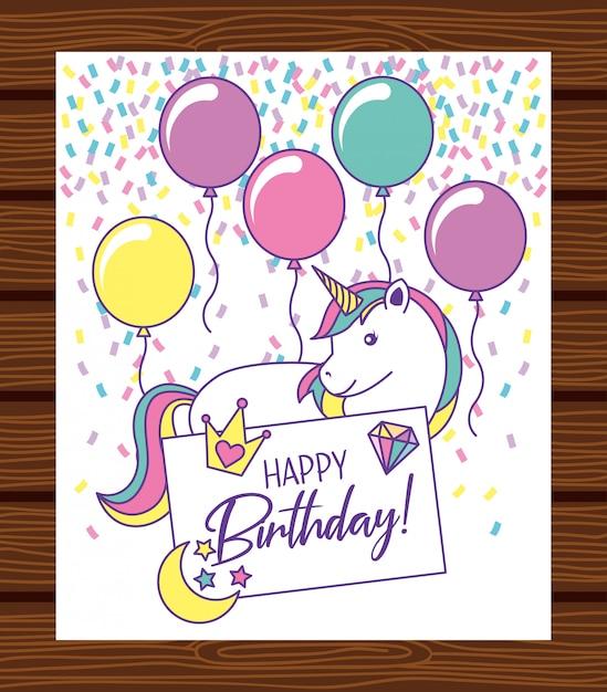 ユニコーンと誕生日カード Premiumベクター