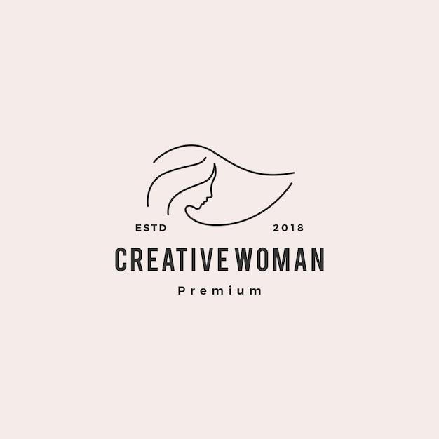 Женщина логотип вектор значок иллюстрации линия наброски монолин Premium векторы