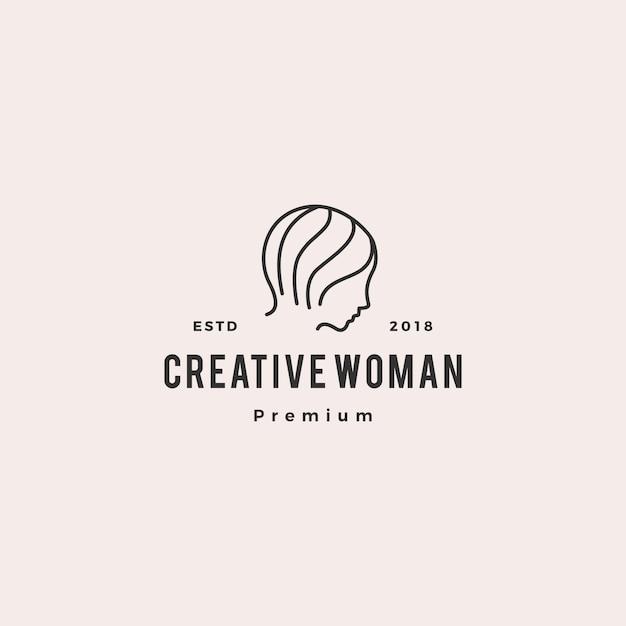 女性ロゴベクトルアイコンイラストラインアウトラインモノライン Premiumベクター