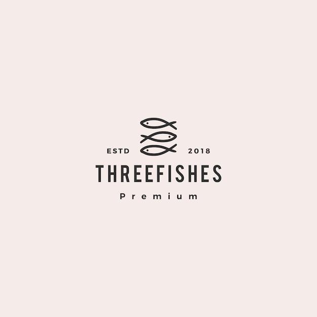 Каракули тройной три рыбы логотип вектор значок иллюстрации Premium векторы
