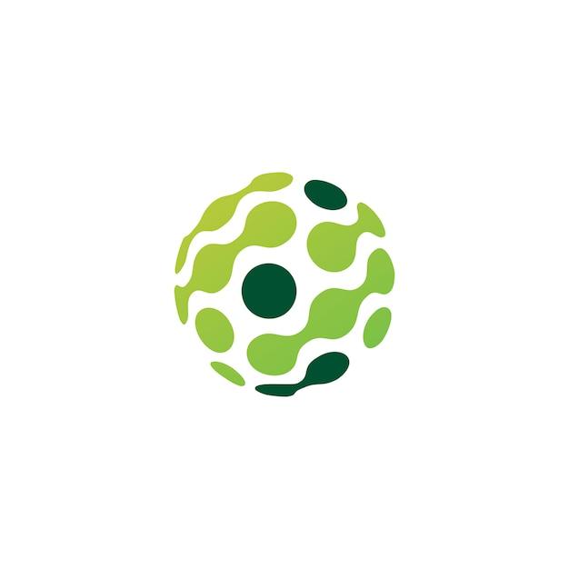 ドット球技術接続ロゴ Premiumベクター
