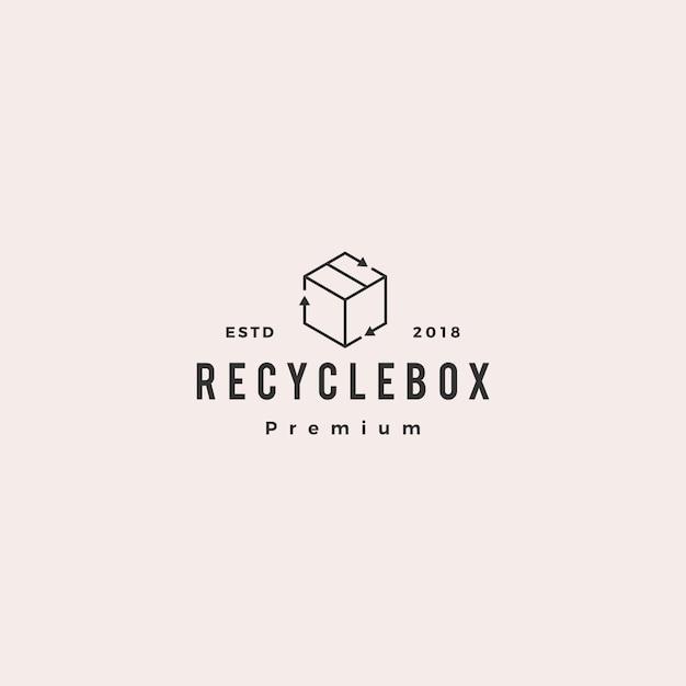 Коробка картонная рециркулирует логотип значок Premium векторы