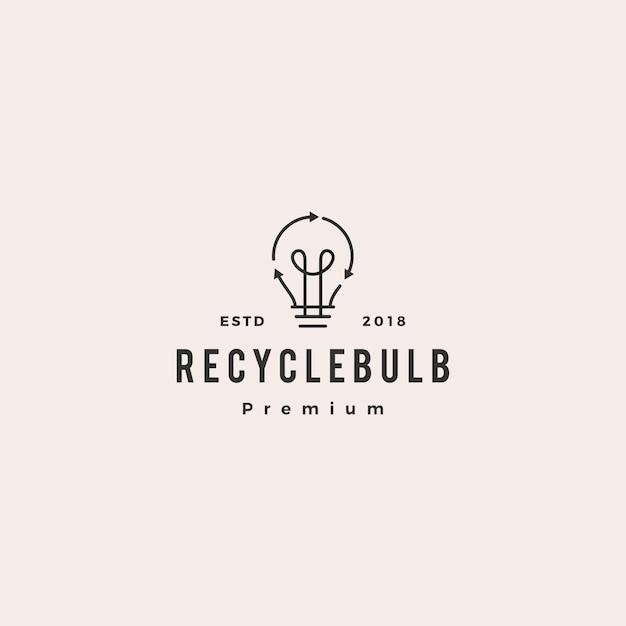 電球ランプエネルギーリサイクルのロゴのベクトルのアイコン Premiumベクター