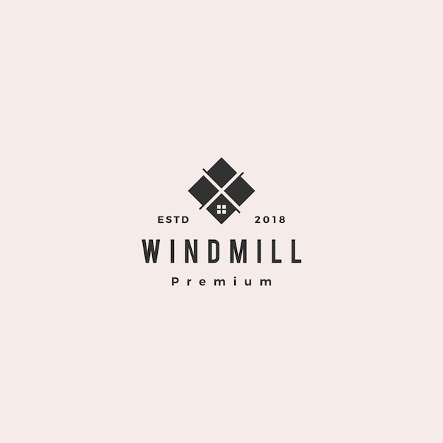 風車タイルの花崗岩と大理石のカウンタートップのロゴのベクトルのアイコン Premiumベクター