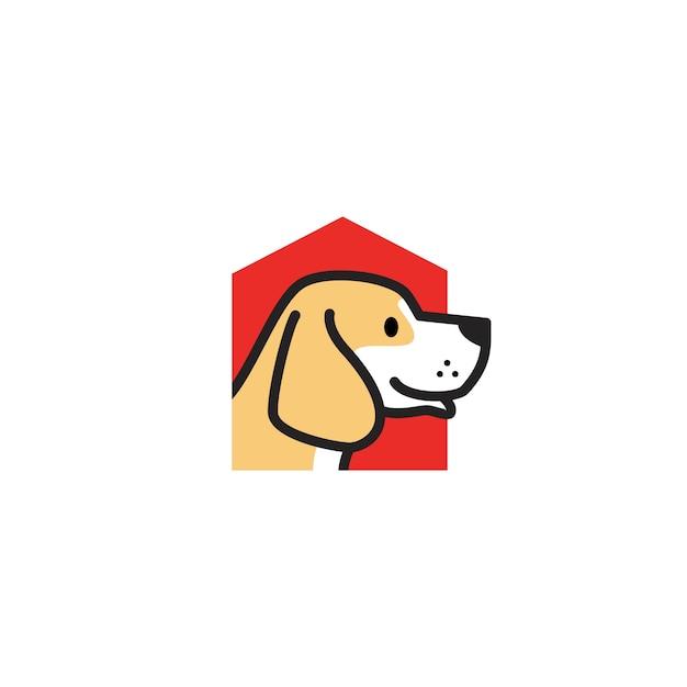 Домашняя собака дом логотип вектор значок иллюстрации Premium векторы