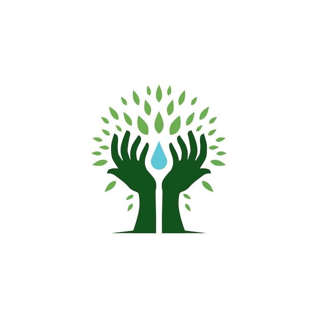 Рука дерево провести капли воды лист логотип вектор значок иллюстрации Premium векторы