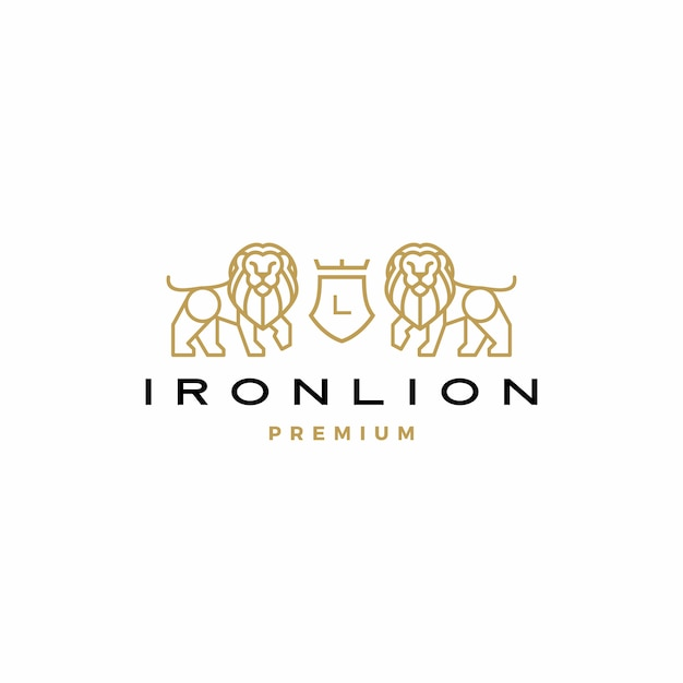 ライオンの紋章ロゴアイコンイラスト Premiumベクター