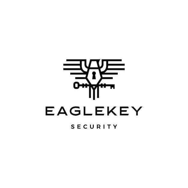 Орел ключ птица логотип значок иллюстрации Premium векторы