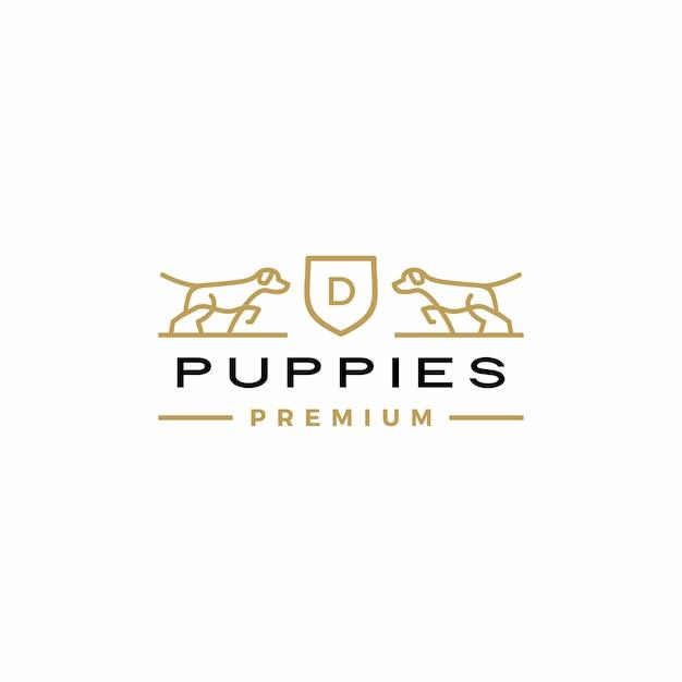 犬の紋章のロゴ Premiumベクター