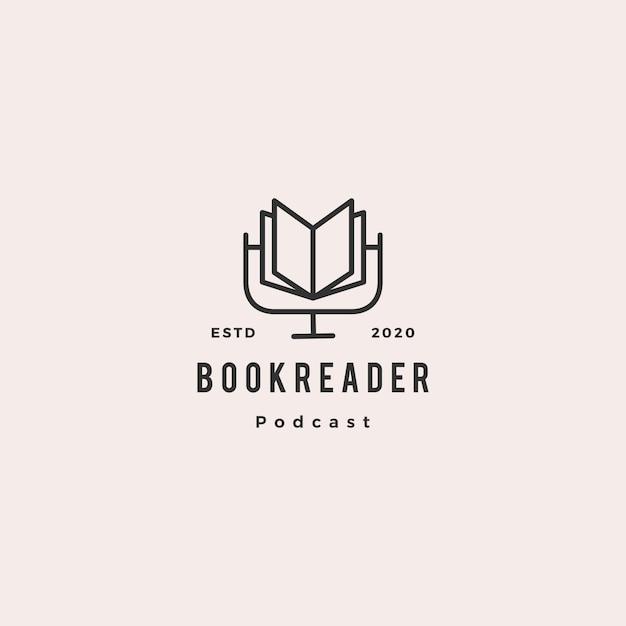 Книга подкаст логотип хипстер ретро винтаж значок для книги блог видео влог обзор канала Premium векторы