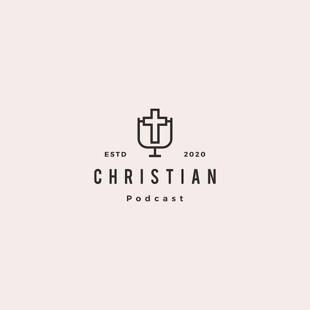 クリスチャンポッドキャストロゴヒップスターレトロビンテージキリスト教ブログビデオビデオブログチャンネル Premiumベクター