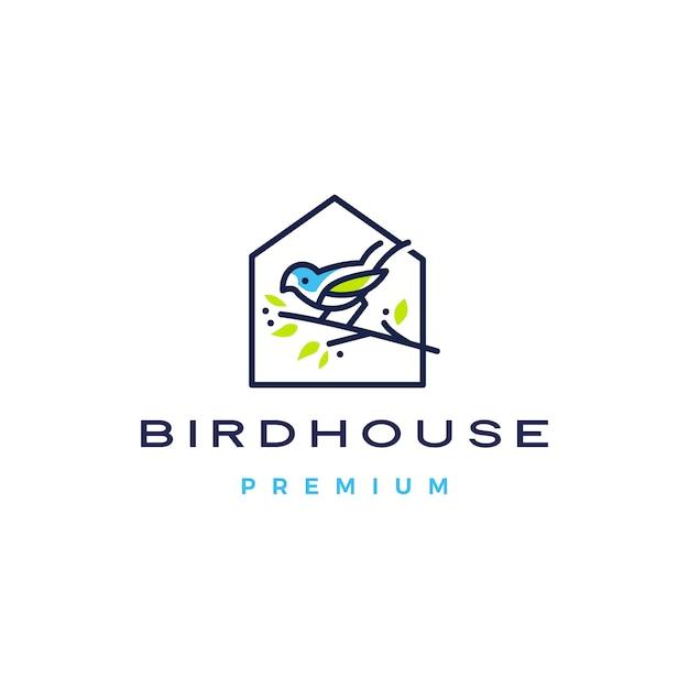 Птица дом логотип значок иллюстрации Premium векторы