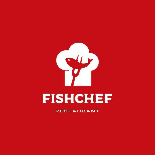 Рыба повар шляпа логотип значок иллюстрации Premium векторы