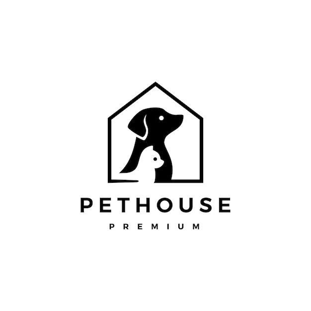 Собака кошка домашнее животное домашний логотип значок иллюстрации Premium векторы