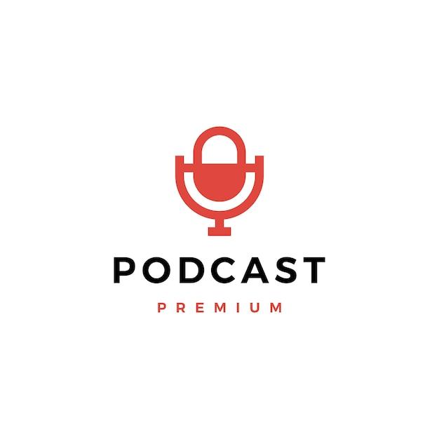 Микрофон подкаст логотип значок иллюстрации Premium векторы