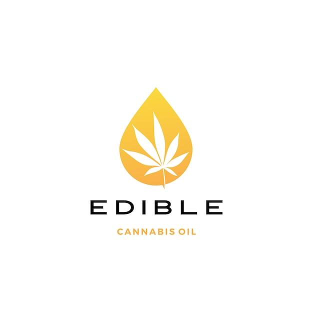 Значок логотипа масло конопли Premium векторы