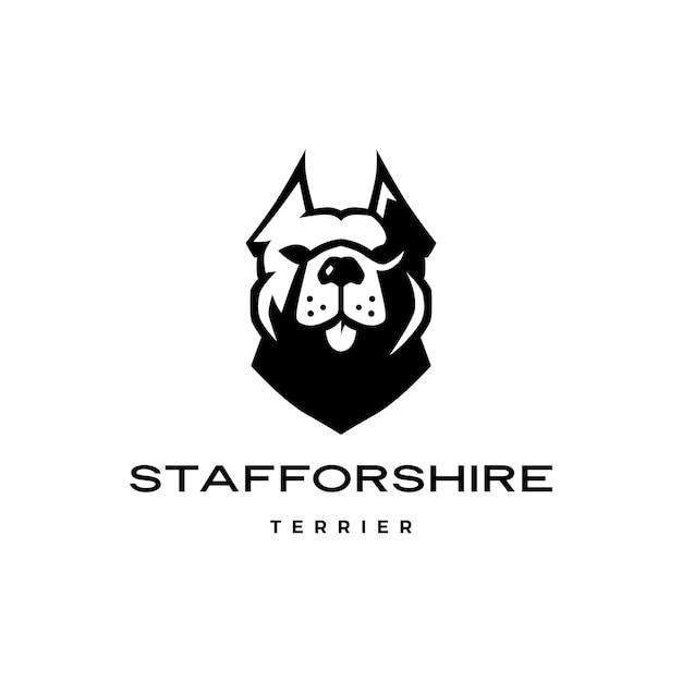 Американский стаффордширский терьер собака голова лицо логотип значок Premium векторы