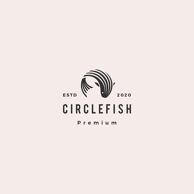 Круглый круг рыба логотип битник ретро старинные значок иллюстрации Premium векторы