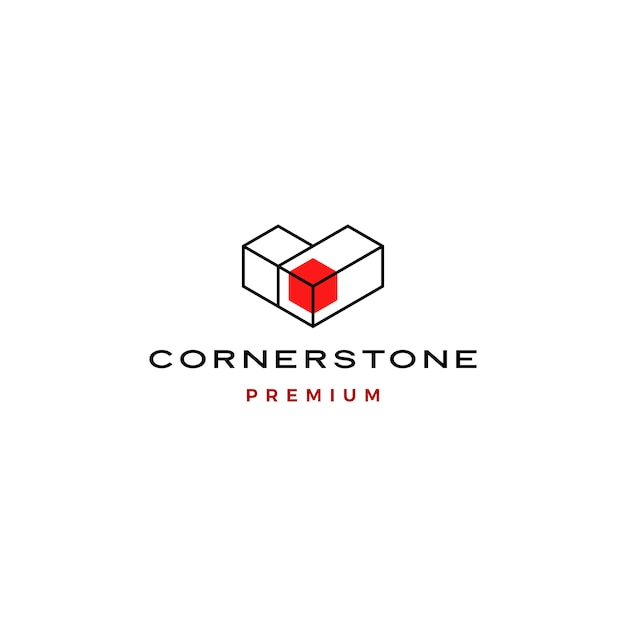Шаблон иконы логотип угловой камень Premium векторы