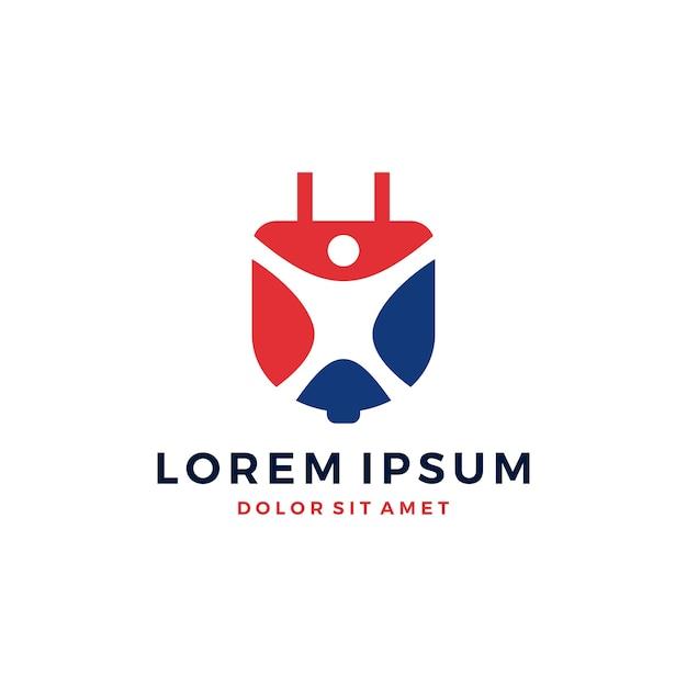 人々の人間の電力電気の電気のロゴ Premiumベクター