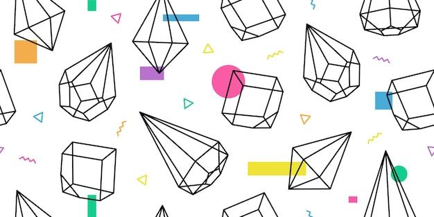 テラリウム幾何学的なガラスメンフィスパターンのベクトルの背景 Premiumベクター