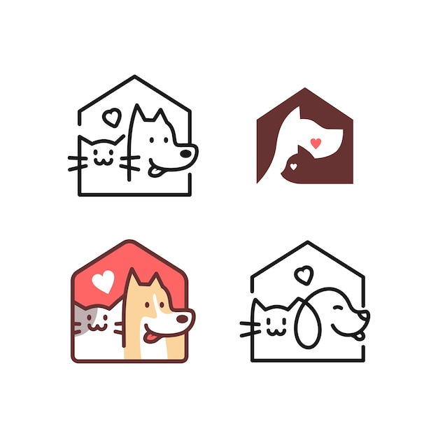 Собака дом кошки Premium векторы