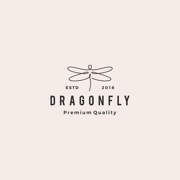 トンボのロゴ Premiumベクター