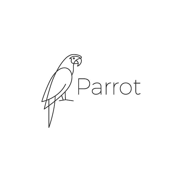 オウムのロゴの鳥ベクトルイラストアイコン Premiumベクター