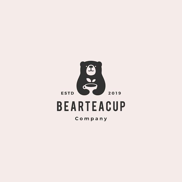 ベアティーカップのロゴ Premiumベクター