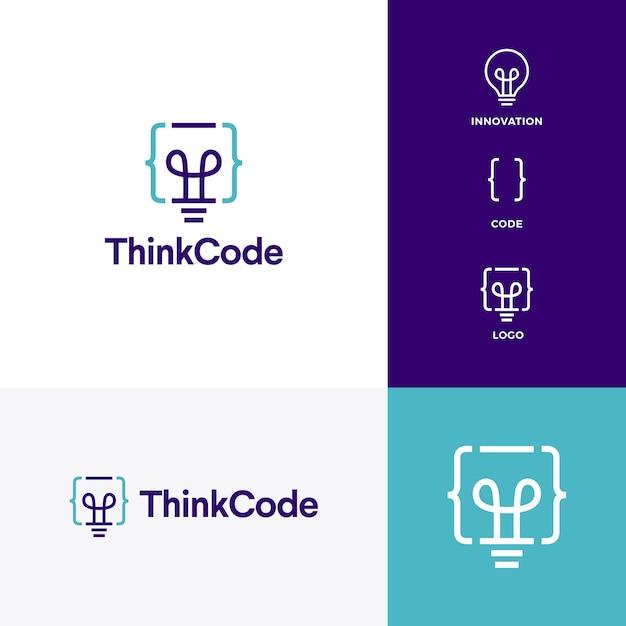 コード電球イノベーションスマートロゴベクトルのアイコンを考える Premiumベクター