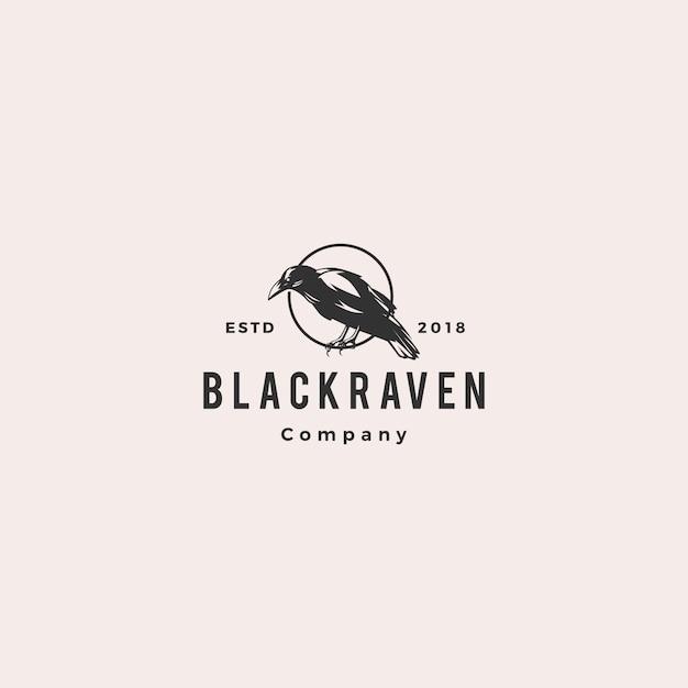 Черный ворон с логотипом вороны Premium векторы