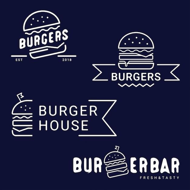 Бургер, фаст-фуд логотип или значок, эмблема. метка для меню дизайн ресторана или кафе. Premium векторы