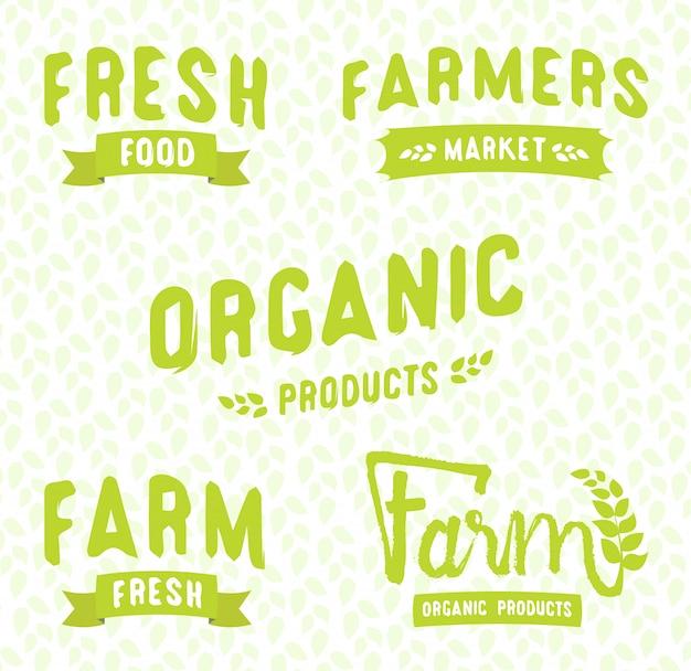 Фермерский рынок логотипы шаблоны векторных объектов набор. векторные этикетки продуктов для вегетарианского ресторана. Premium векторы