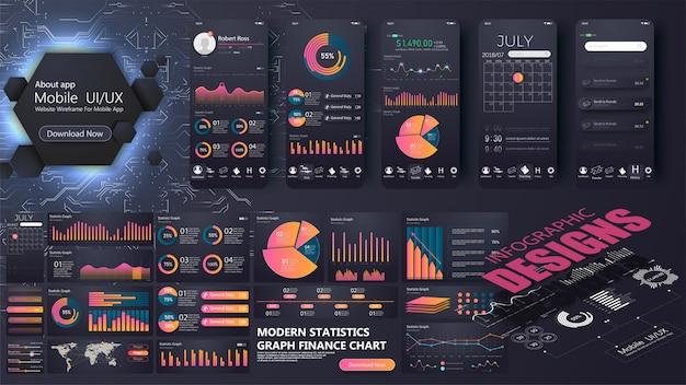 Современный инфографический шаблон для сайта или мобильного приложения. информационная графика Premium векторы
