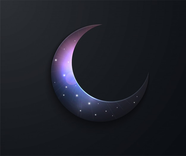 ラマダンイスラム教徒の聖なる月のごちそう。満月の夜。スペースのベクトル図 Premiumベクター