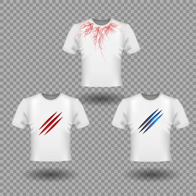 Дизайн футболки с царапинами когтей и человеческими венами, дизайн красных кровеносных сосудов Premium векторы