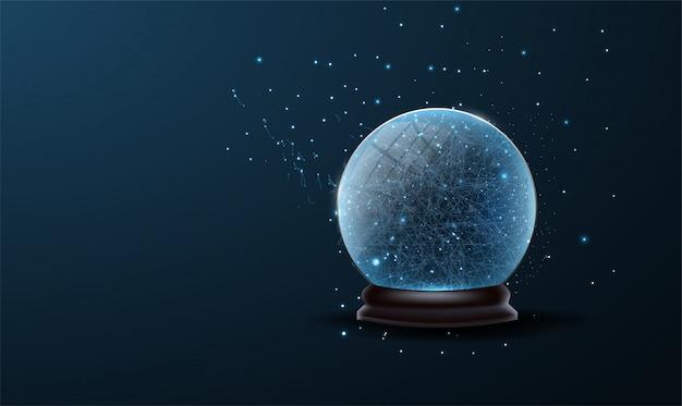 クリスマスツリーのボールの装飾低ポリ。クリスマスの雪の世界は青い背景に分離されました。 Premiumベクター