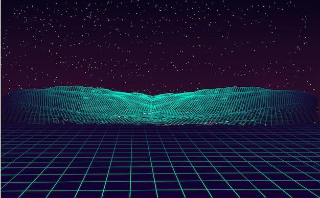Цифровая пейзажная кибер поверхность. Premium векторы