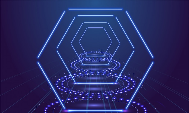 ネオンショーライトポディウムブルーの背景。ベクトルイラスト Premiumベクター