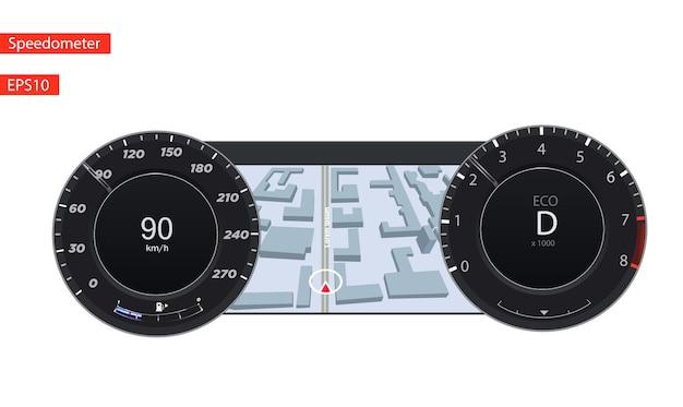 スピードメータークロムフレームの有無にかかわらず円形の黒いゲージ。 Premiumベクター