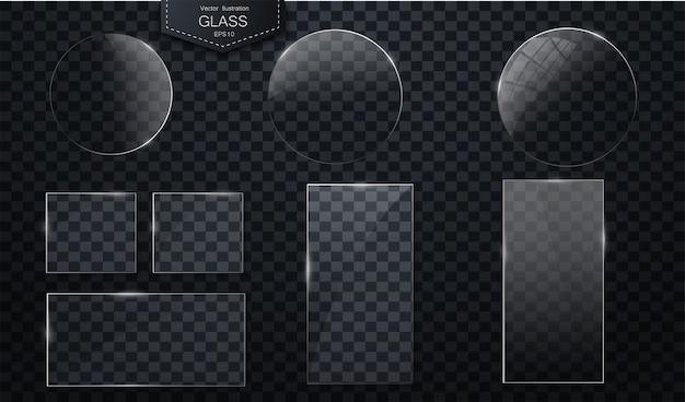 透明な背景にベクトルガラスバナープラスチック製のバッジまたは透明板 Premiumベクター