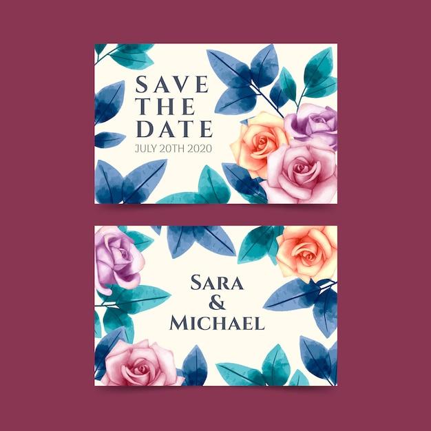 花の水彩画のウェディングカード Premiumベクター