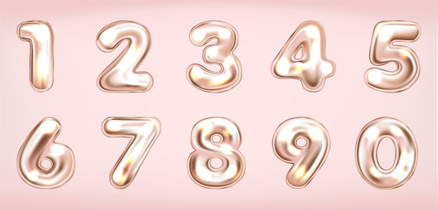 Розовые металлические блестящие цифры Premium векторы