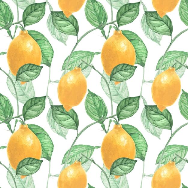 レモンフルーツと葉のシームレスパターン Premiumベクター