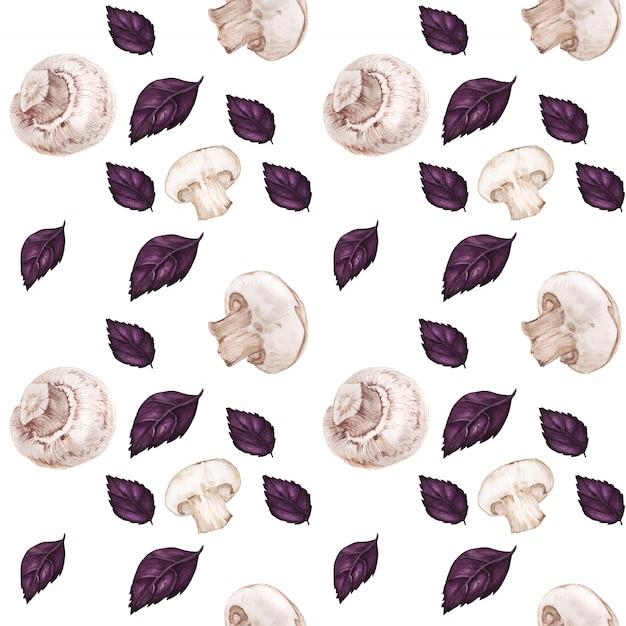 シャンピニオンと紫バジルの水彩のシームレスパターンをトレース Premiumベクター