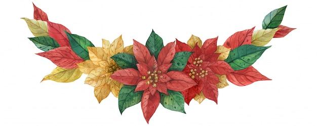 クリスマスポインセチアガーランド Premiumベクター
