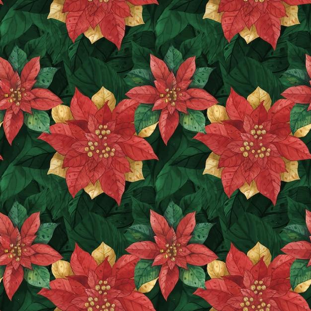クリスマスレッドグリーンスターポインセチアシームレスパターン Premiumベクター