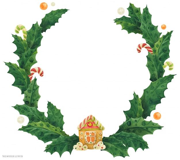 ジンジャーブレッドの家、水彩イラストとクリスマスヒイラギの花輪 Premiumベクター