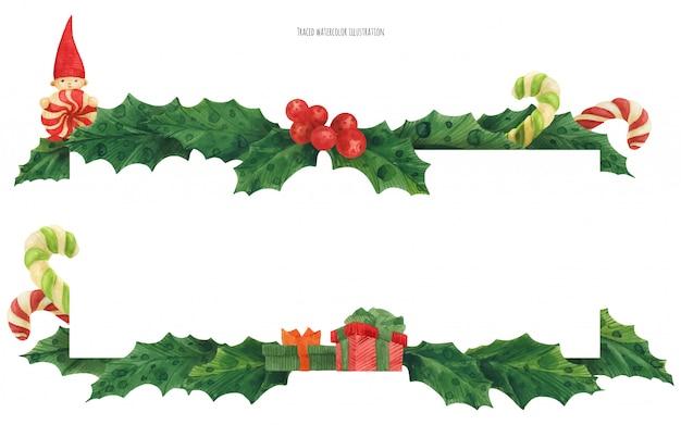 キャンディーとギフト、水彩イラストクリスマスヒイラギの罫線 Premiumベクター
